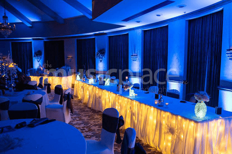 Cobalt blue DJ uplighting in Elkhart Indiana