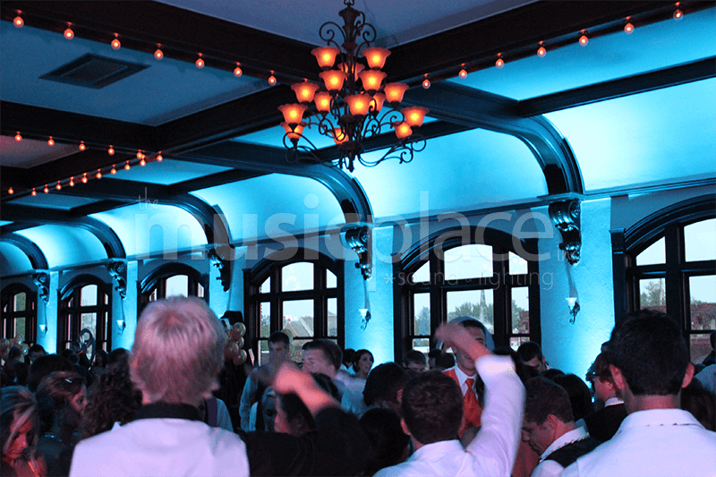 Tiffany blue teal DJ uplighting at Spohn Ballroom in Goshen, Indiana