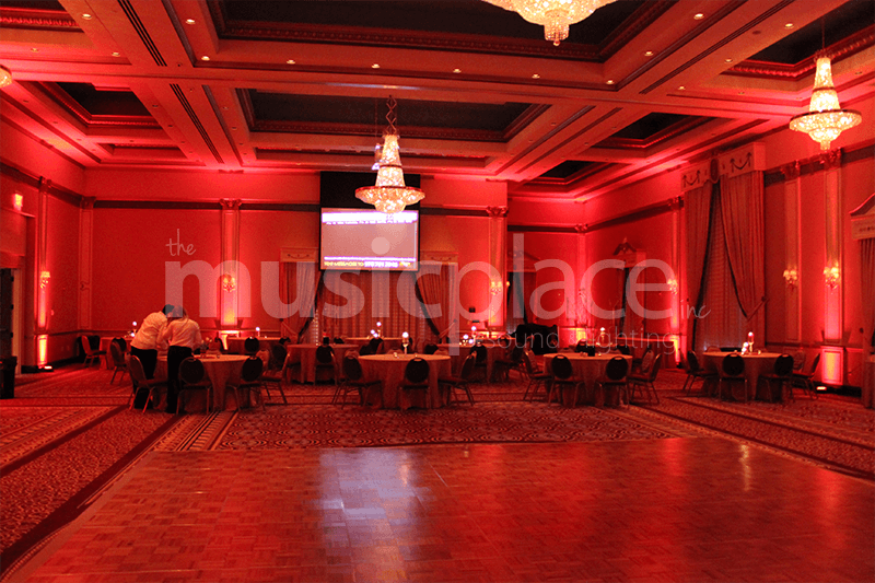 Ruby red dj up-lighting at Lerner Theatre Crystal Ballroom in Elkhart Indiana