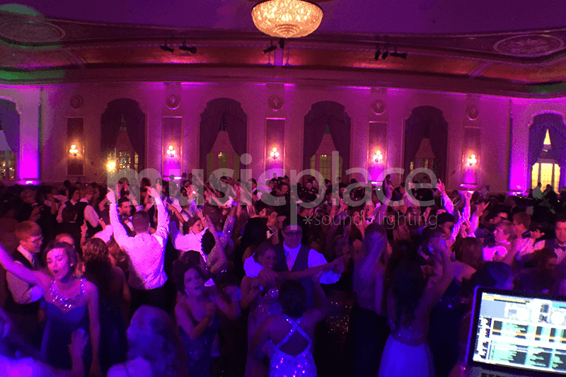 Pink DJ up-lighting at the Palais Royale in downtown South Bend Indiana