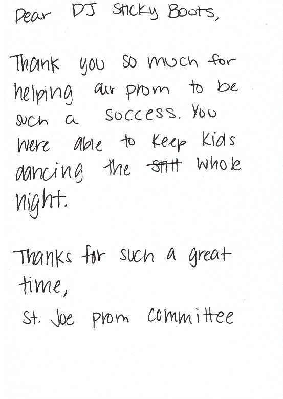 Prom Thank You Note