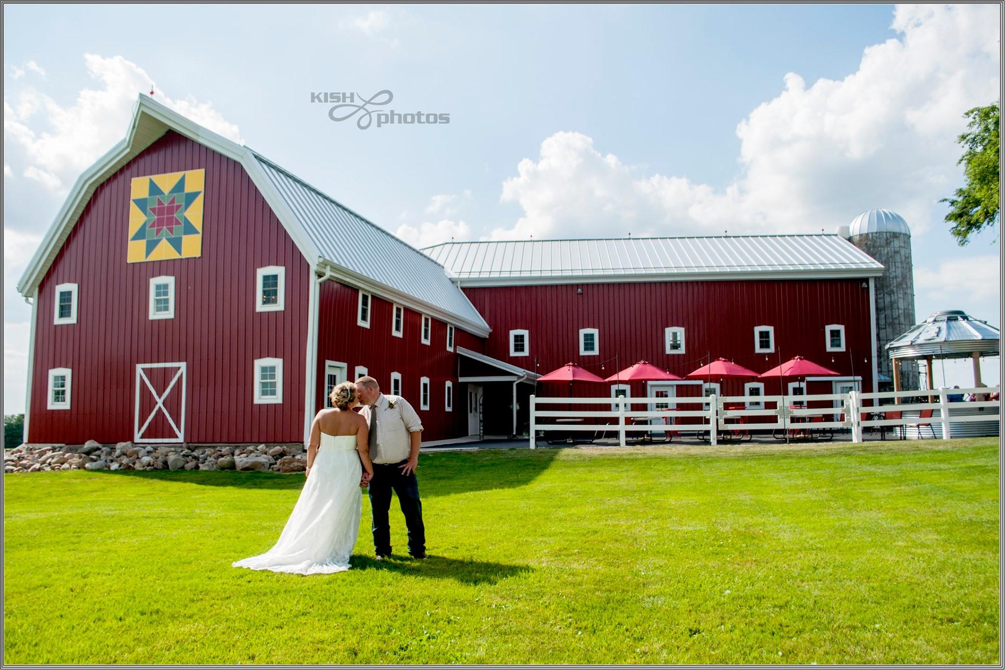 Bride and Groom at Meadow Brook Barn in Goshen