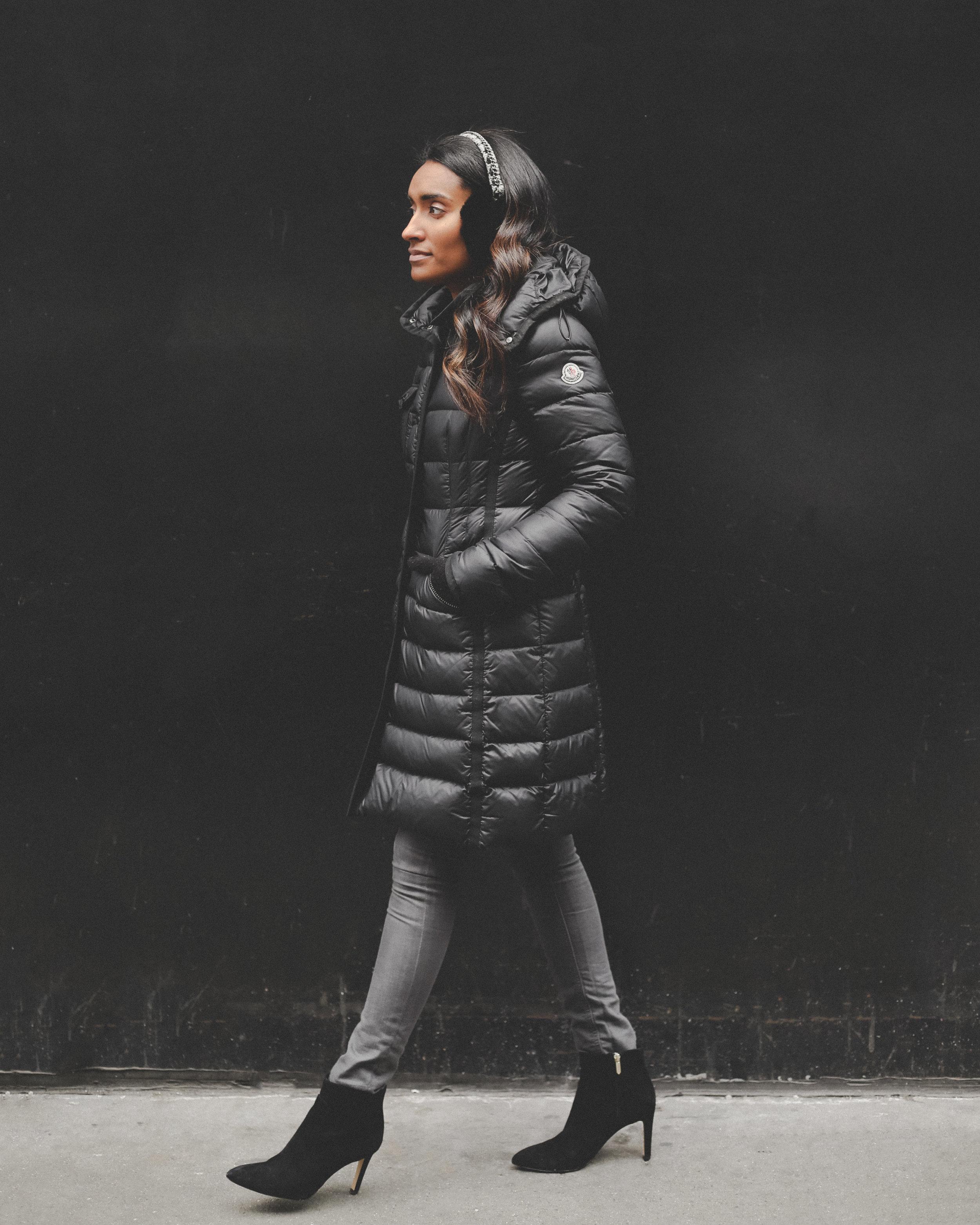 Krys posing with a stylish puffy jacket.