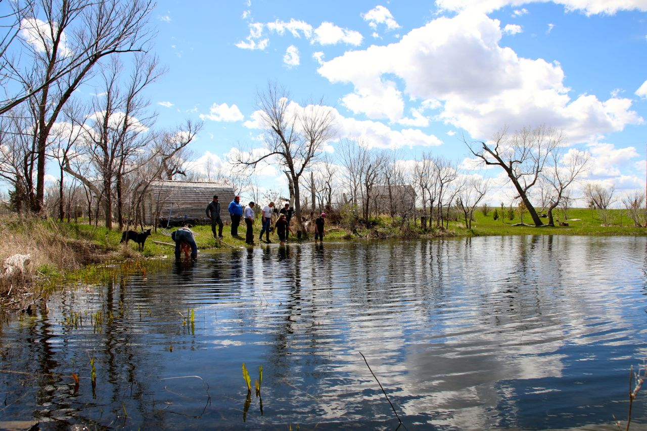 A beautiful day to to be stocking fish at the ranch.
