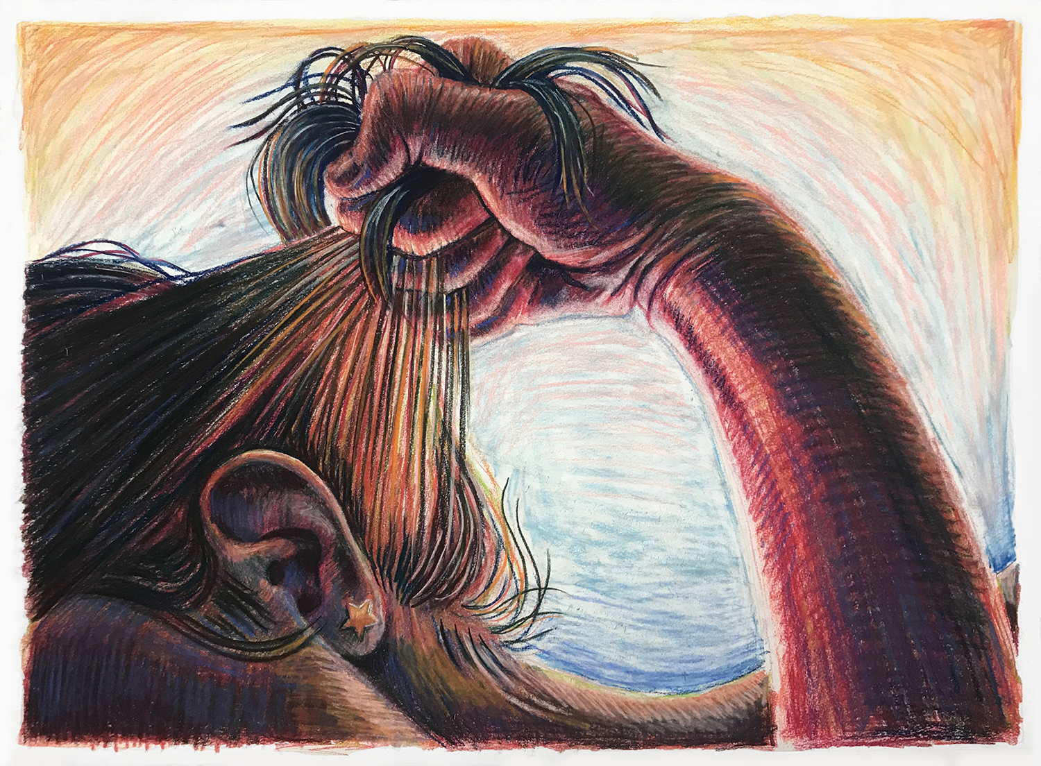 Honestly (I say), I like feeling this way (Christina)   conté crayon and pastel on paper  22 X 30 inches  2019
