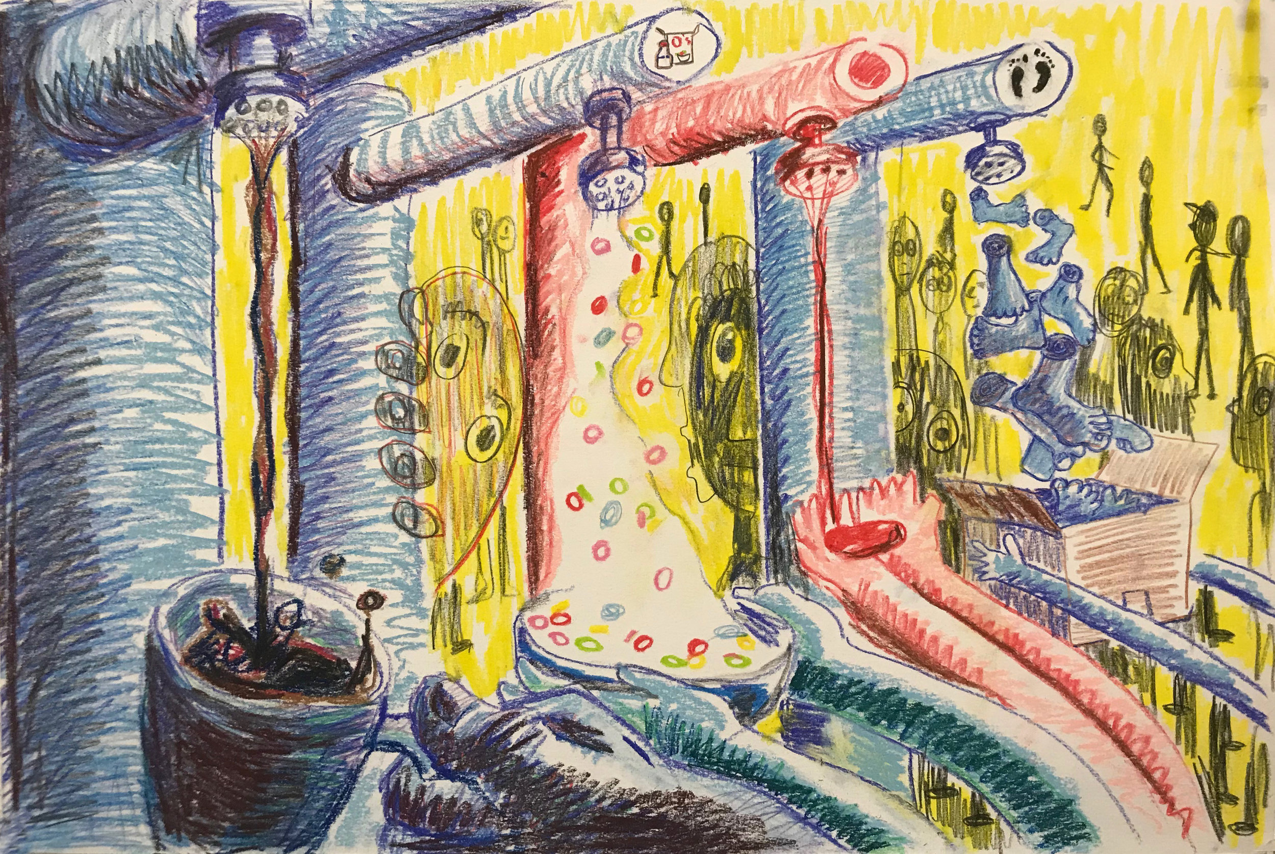 Alon's Dream   conté crayon on paper  9 X 18 inches  2019