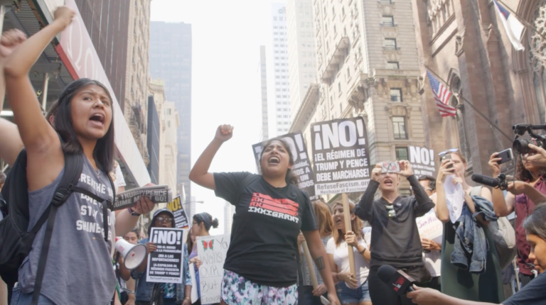 Hundreds Rally Against DACA Decision at Trump Tower -