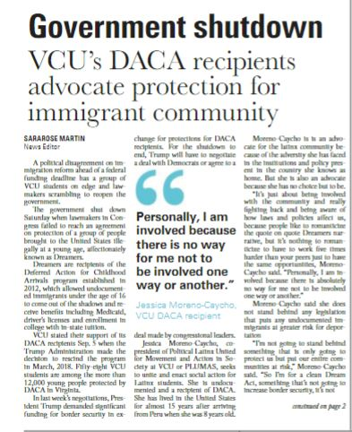 """There is absolutely no way for me not to be involved"": VCU's DACA recipients are fighting for all immigrants -"