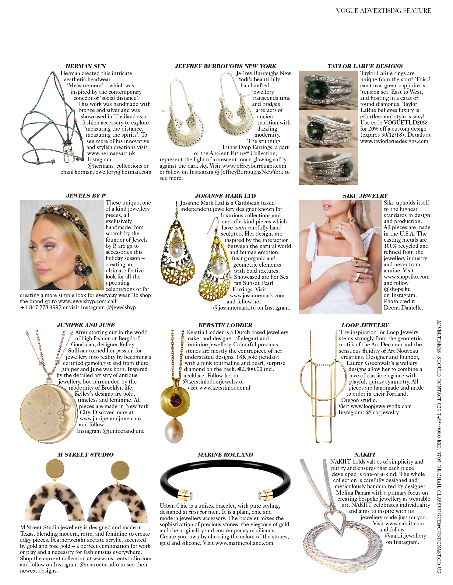 Siku Jewelry in British Vogue December 2018
