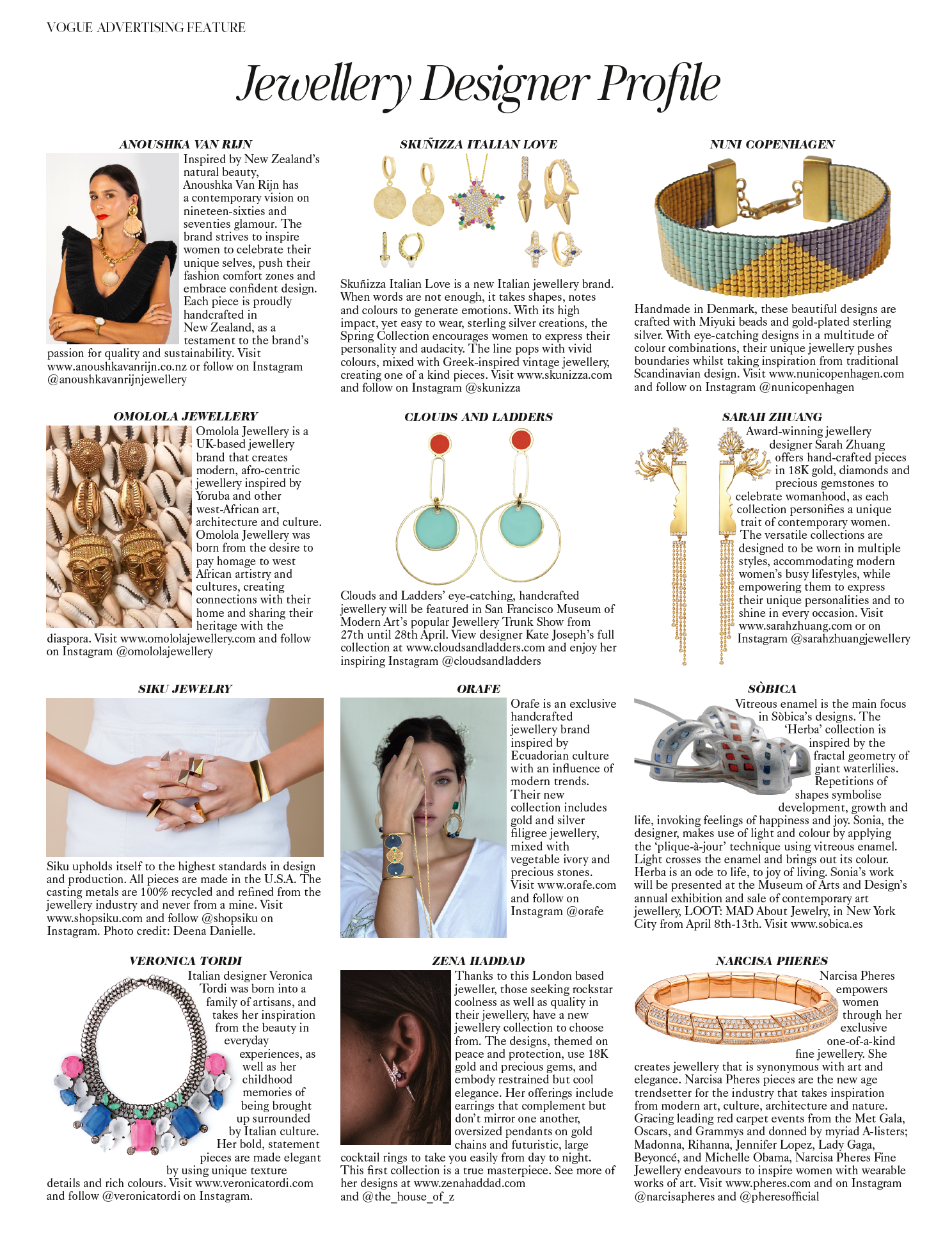 Siku Jewelry in British Vogue April 2019