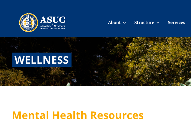 Nuha's Office has spent the fall semester creating a comprehensive Mental and Physical Resources Guide now available in beta format at asuc.org:wellness