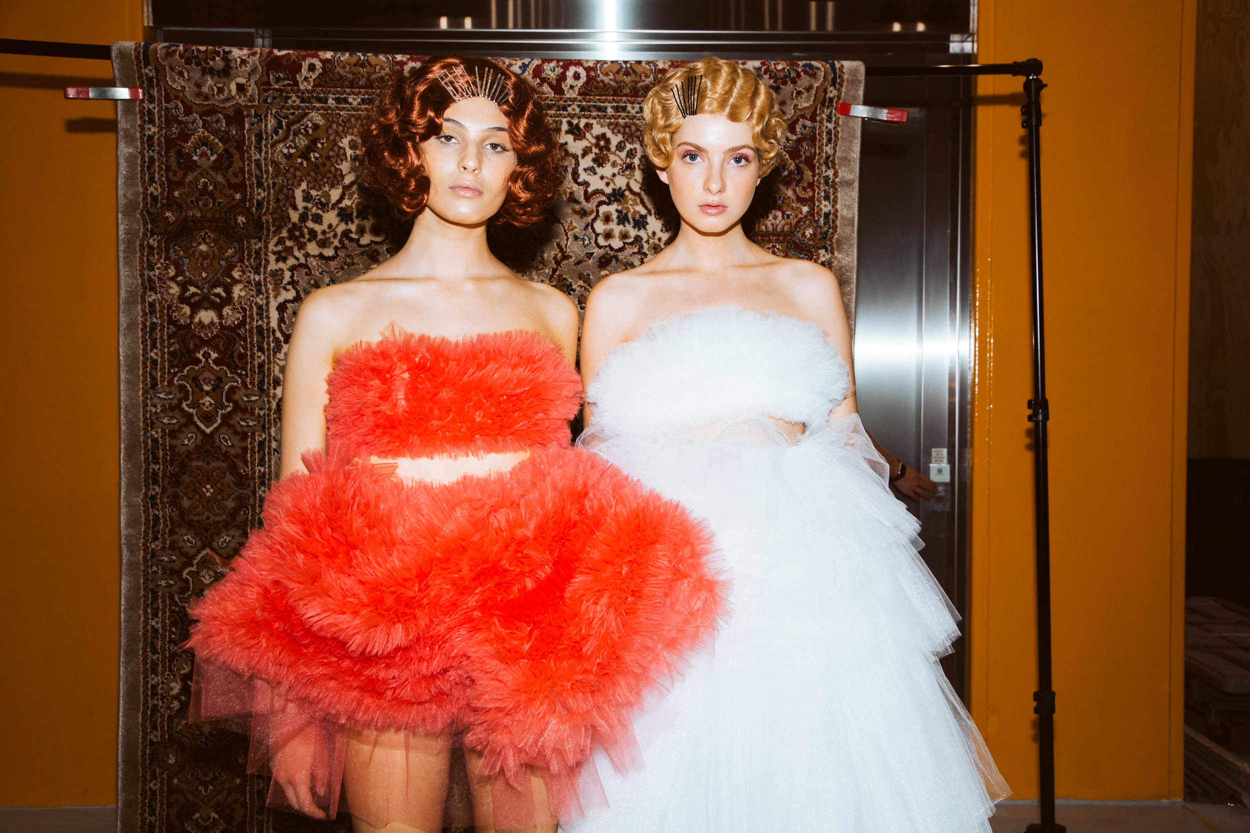 Danielle Pont's love of tulle forms the basis of her collection with 62 Models: Sophia Frankish, Kizzie Amoore.