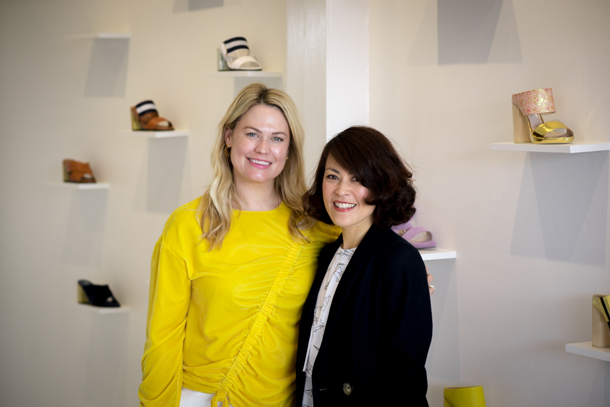 Kathryn Wilson pictured with podcast presenter and producer, Sonia Sly.