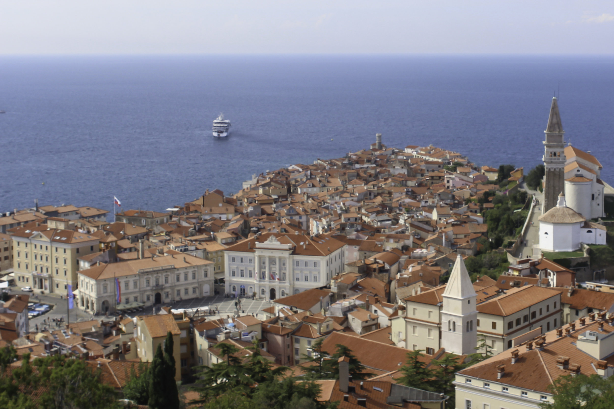 The view of Piran and the Adriatic from atop the old fort walls.