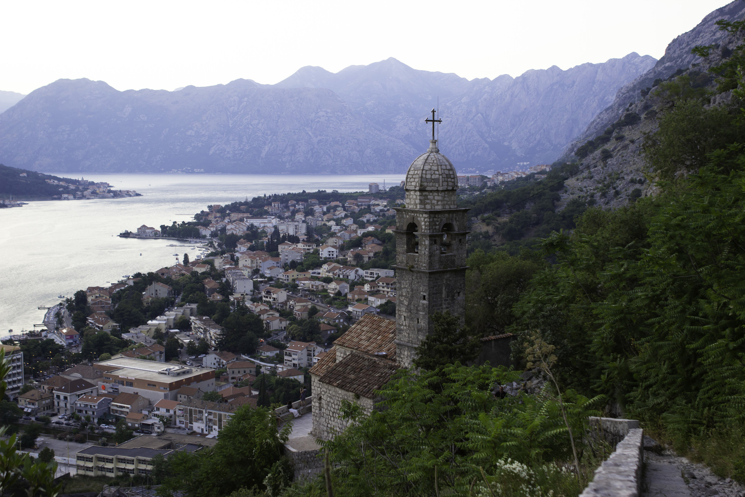 Kotor and the Bay of Kotor from high up along the fortress walls.