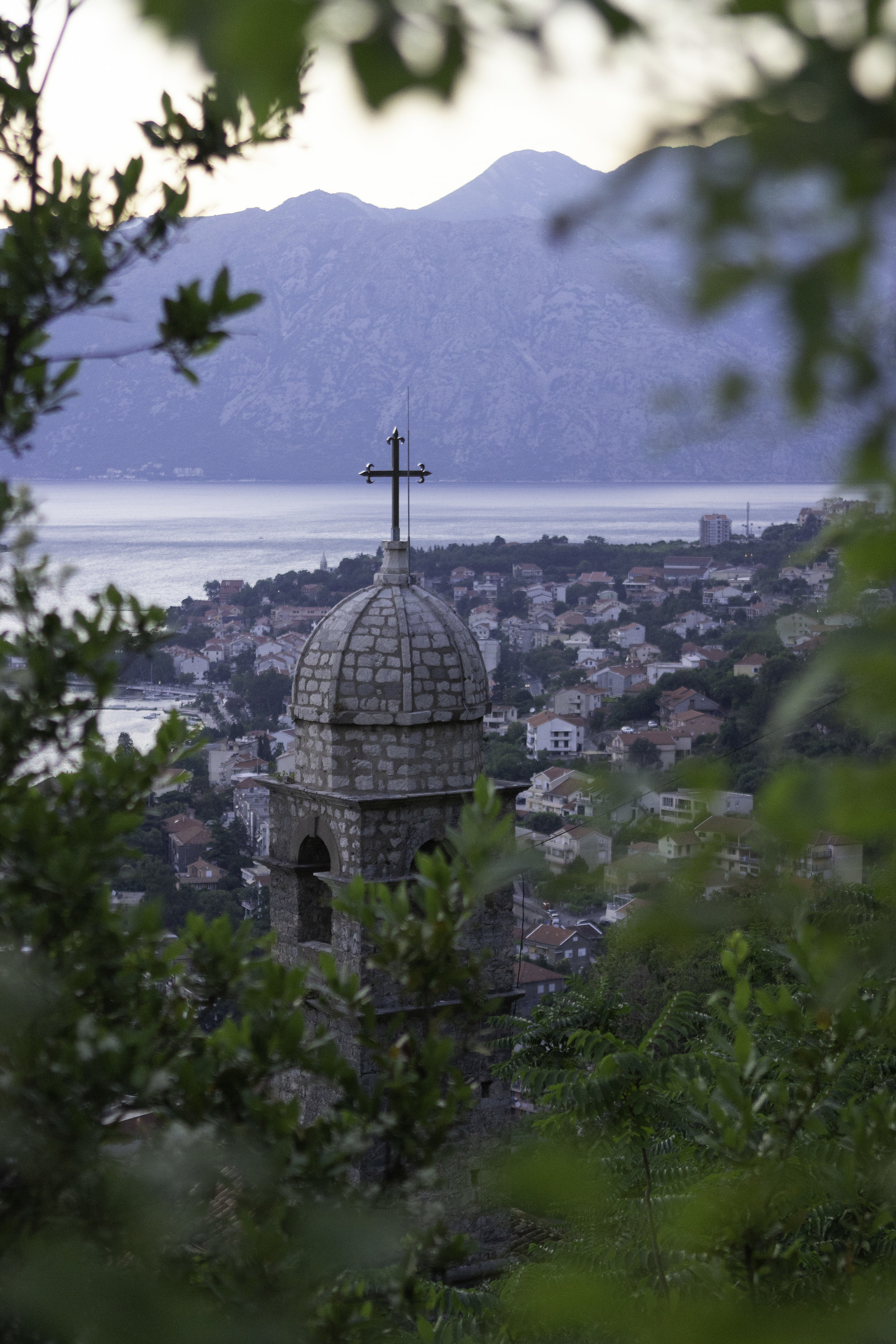 The spire of Church of Our Lady of Remedy, found on along Kotor's fortifications en route to St. John Fortress.