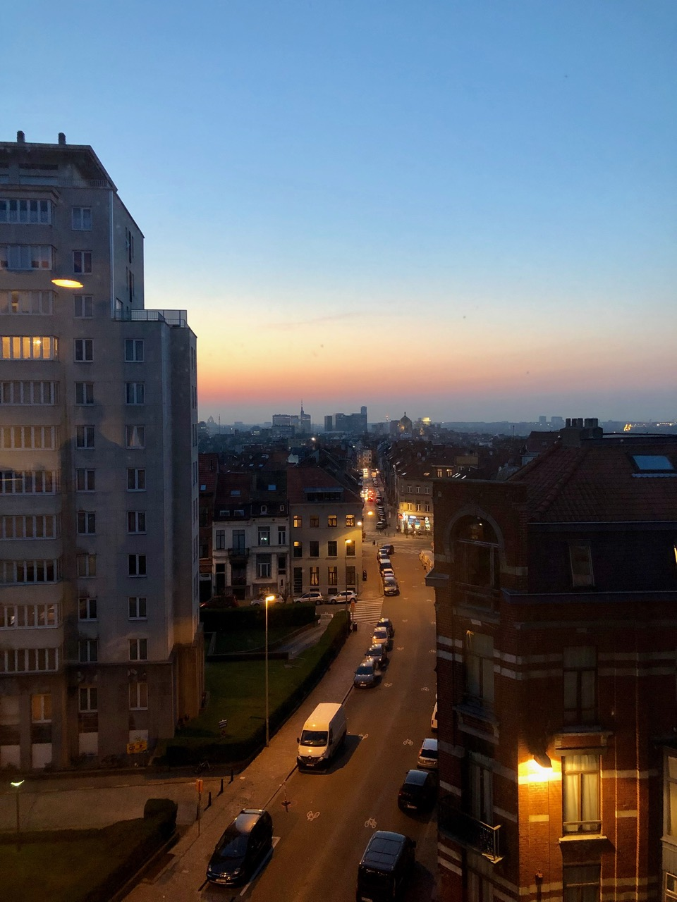 Sunset in Brussels on the way to Lisbon. (Photo: Gavin McCrory)