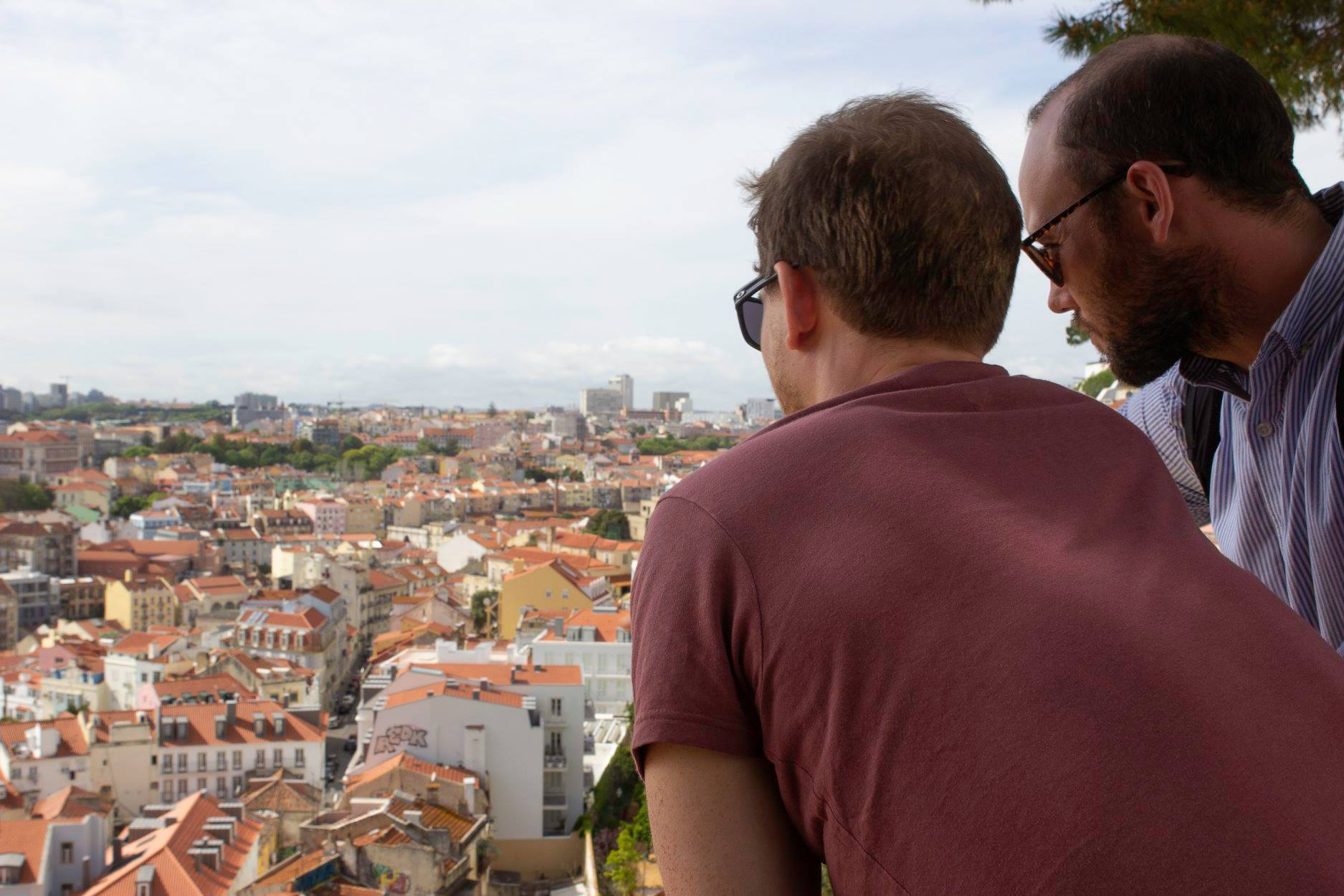Gavin (far right) looking out over Lisbon.