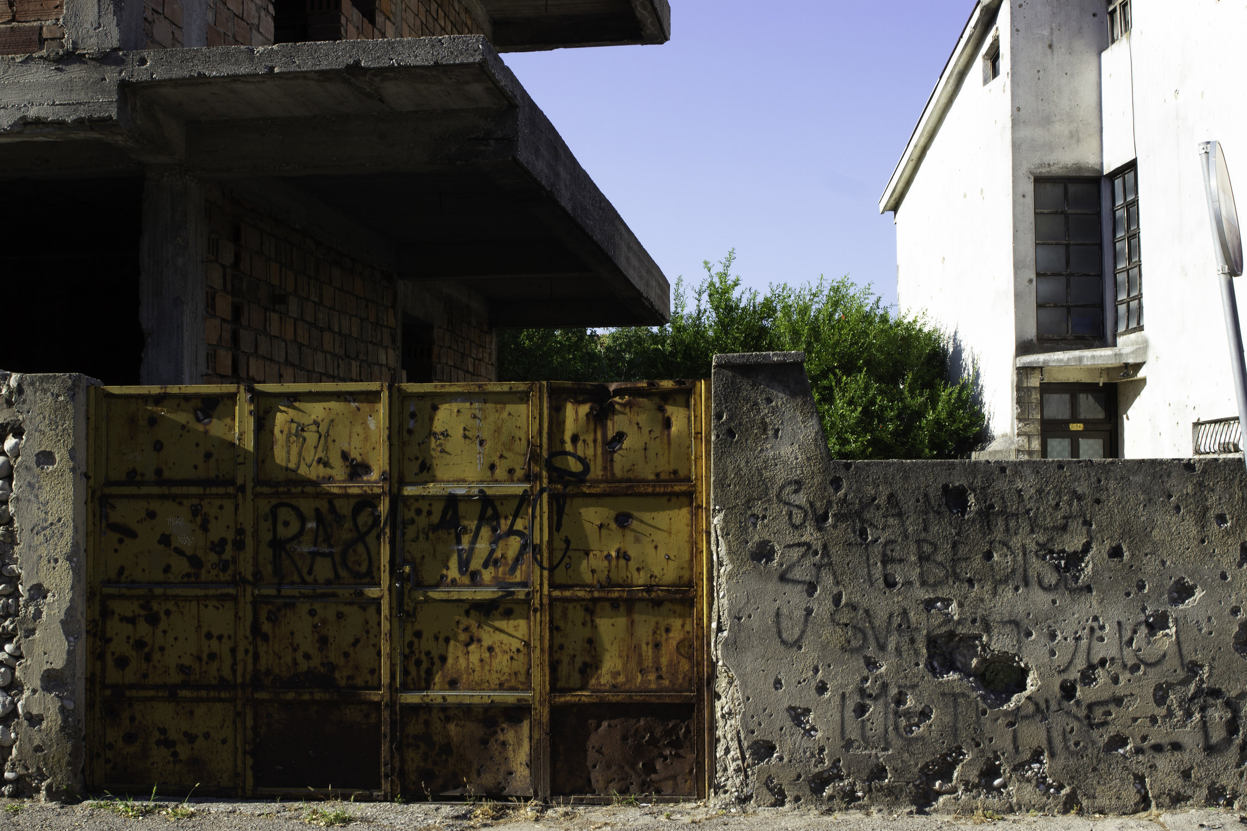 Located just outside the old town, this shelled property still wears scars from the war.