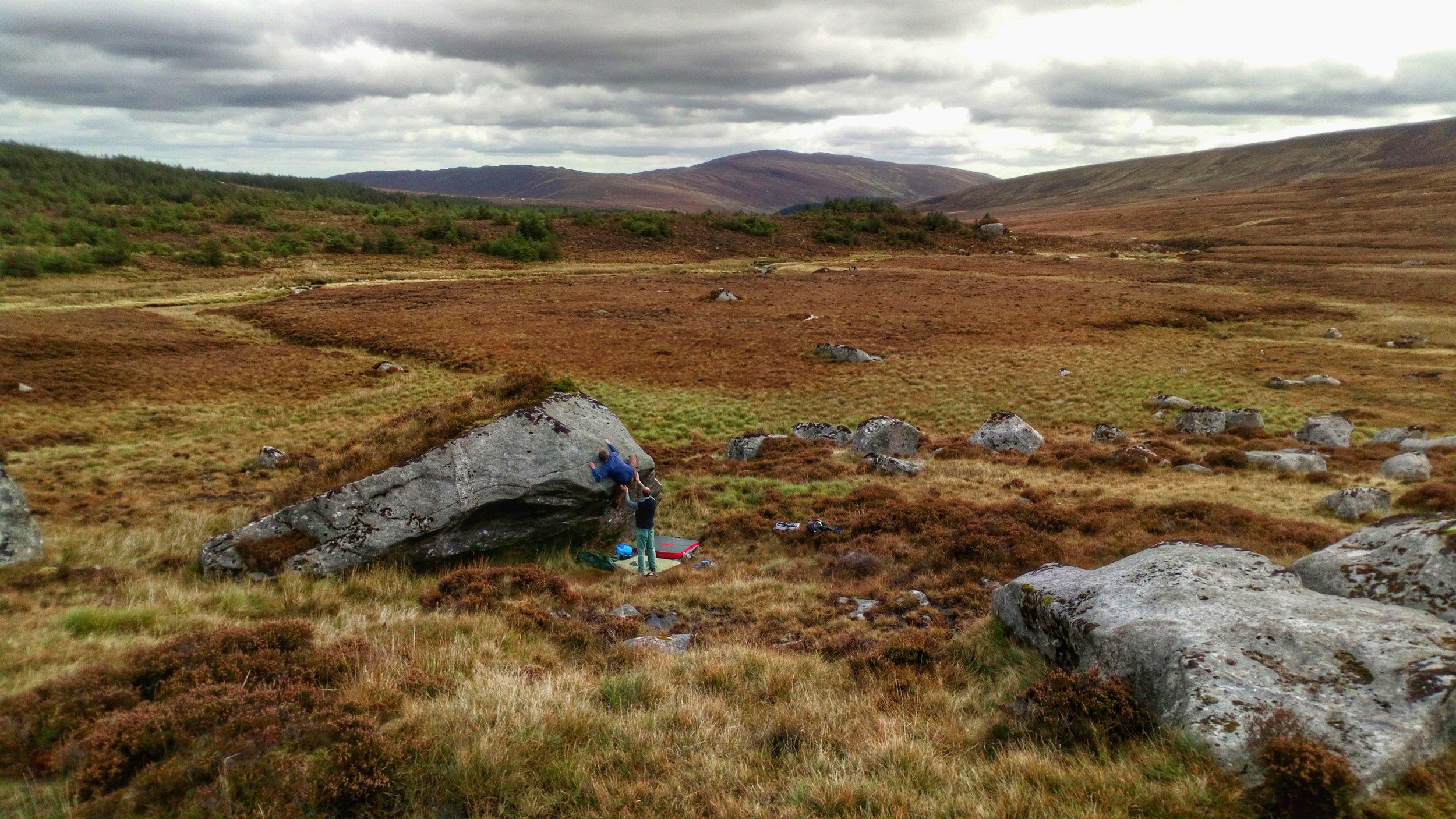 Bouldering in the hidden valley of Glenmacnass, Co. Wicklow