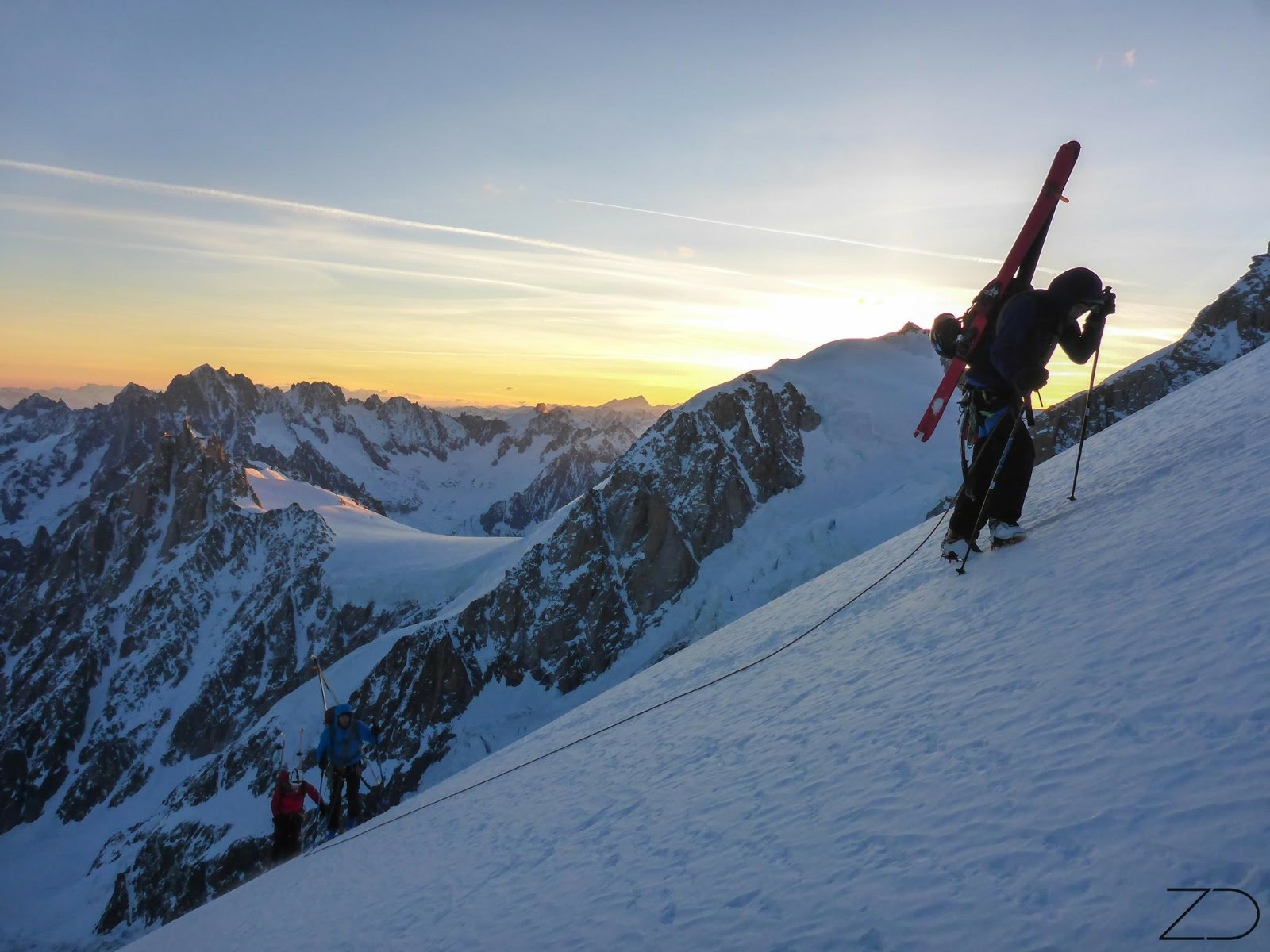 Ski descent of Mont Blanc, Via NW ridge Dome du Gouter