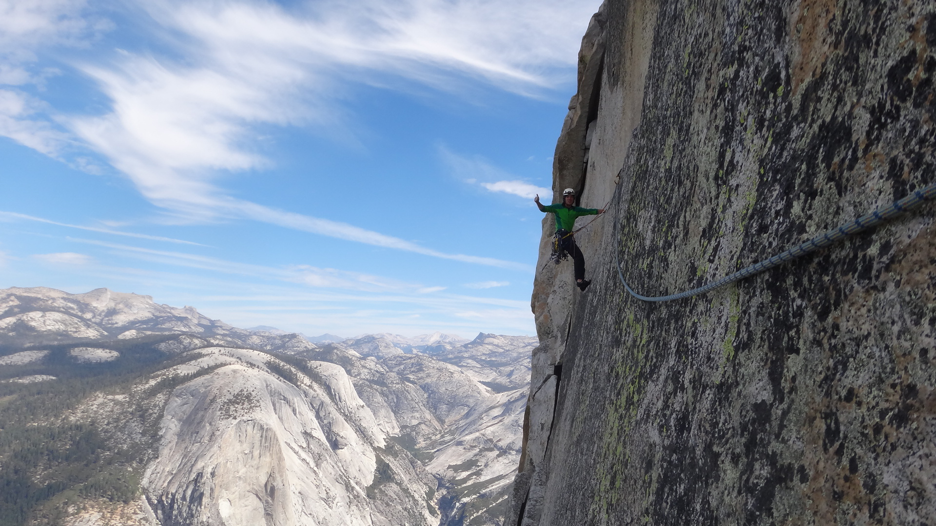 On the Thank God ledge, NW face Half Dome, Yosemite