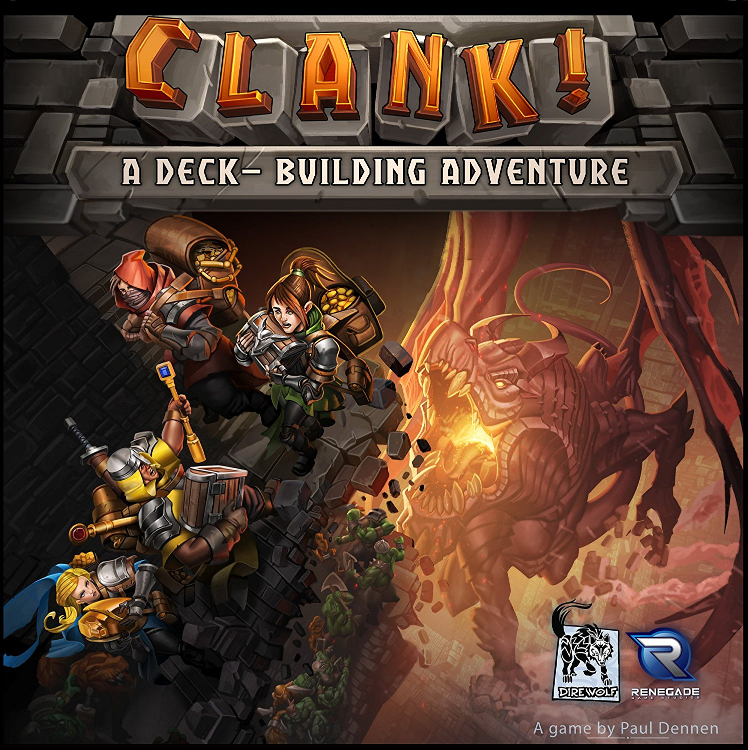 Clank! - This is an excellent game that incorporates deck building accompanied with a physical board game that is uniquely designed. Players find themselves exploring the depths of a dungeon, grabbing treasures, and making a mad dash for the door. The goal being to avoid making too much noise (aka