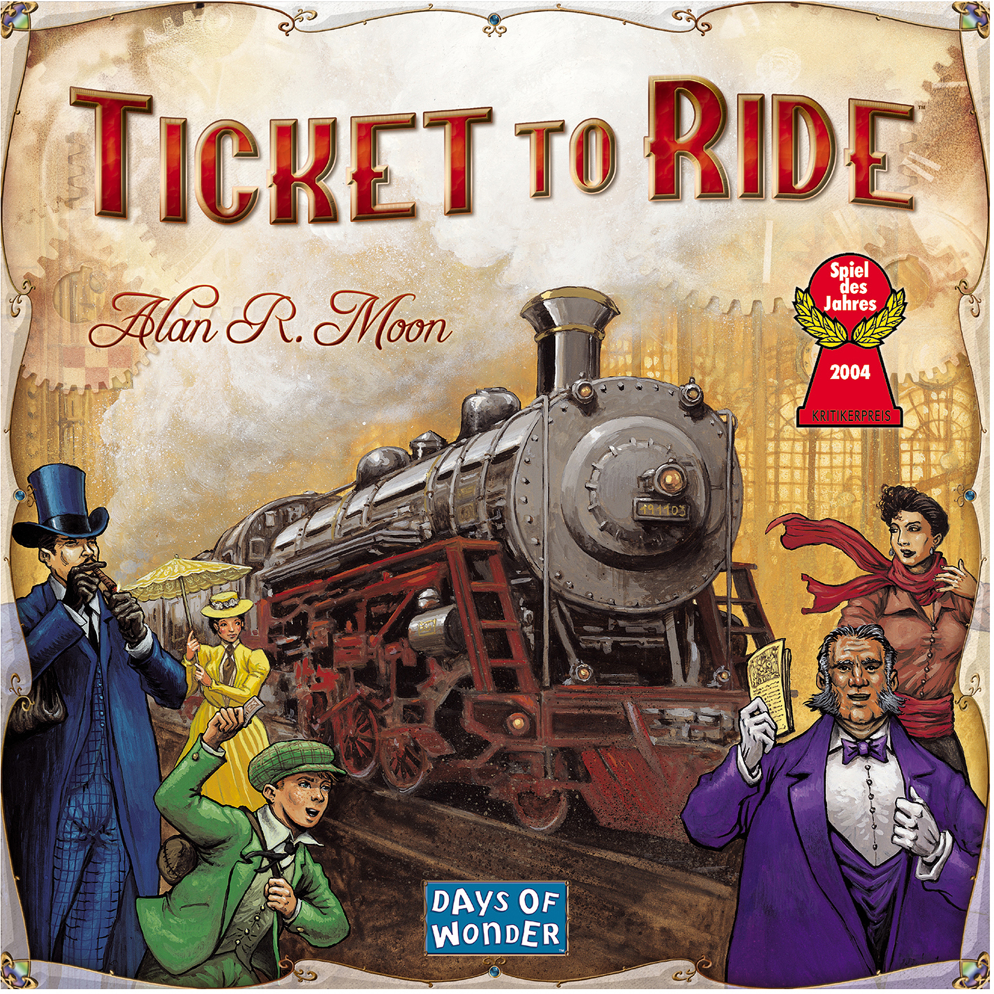 Ticket To Ride - Ticket to Ride is one of the first family-based strategic games I fell in love with. The goal of laying down train cars to claim railway routes and competing with others in the process is very enticing. It is a simple game to learn but has intense strategic decisions along with competitive game play. This game has grown so much in popularity with over 20 different Ticket to Ride games/expansions in total!I personally own 3 of those and they are so much fun to play even after more then a decade of playing the original. Ticket to Ride is a must own for any type of gamer!