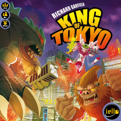 King of Tokyo - This is a great introductory game that is fun for all ages! The monster concept draws in both adults and children. Also, everyone loves to roll dice and the Yahtzee-like mechanics where you get to roll up to three times makes it very compelling. This is one of the best games out there with a quick setup time and gameplay lasting around thirty minutes. The same game publisher has recently come out with a 2nd edition with new and improved graphics and additional expansions are available adding more depth to the base game.