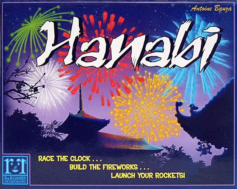 Hanabi - In this challenging cooperative card game, players work together to launch a spectacular firework display. Trouble is, it's dark out, so you can't really see what you are working with. Each player holds their cards so that only the other players can see them. They must give each other vital information and remember all the information received. Then use the information to choose which cards to play. Helping each other play the right cards at the right time is the key to creating an unforgettable show and avoid being booed by the audience.
