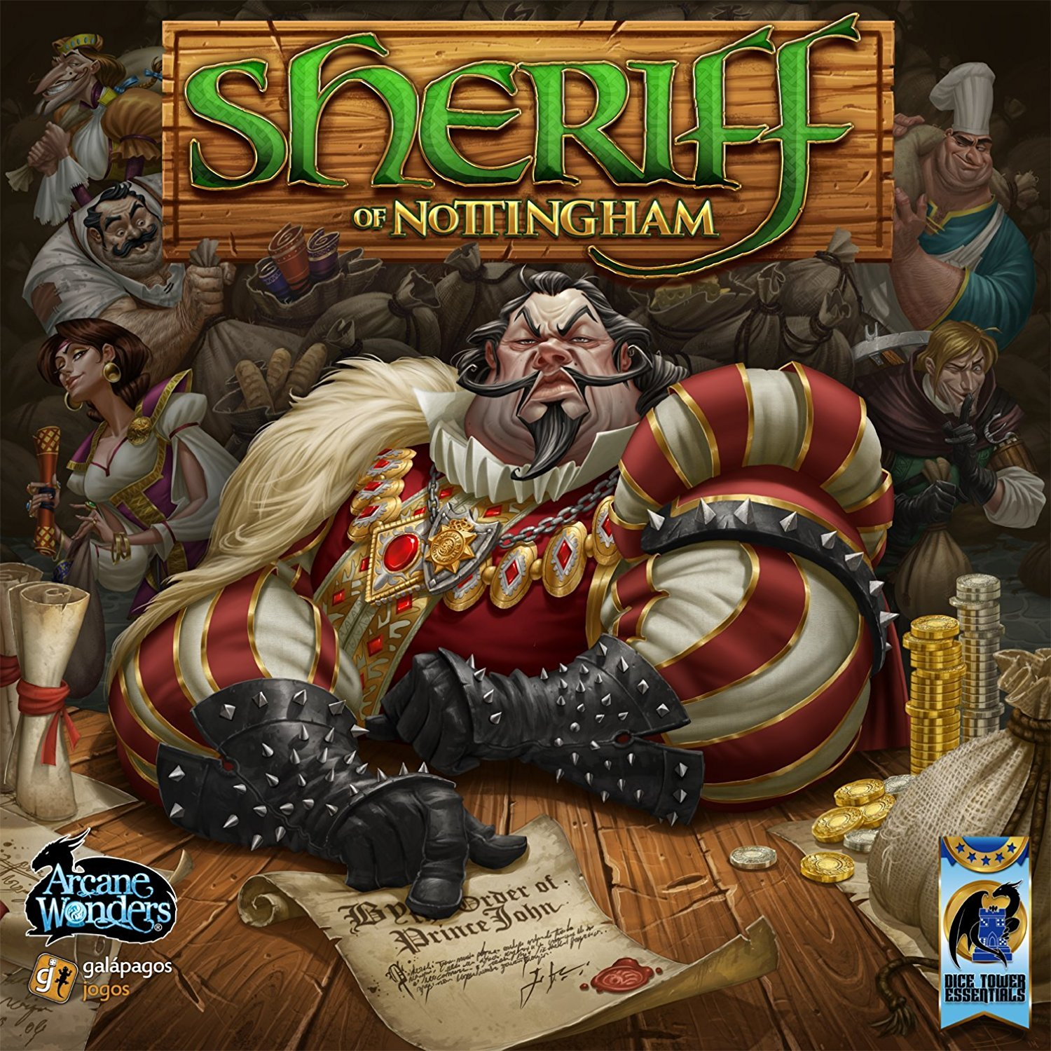 Sheriff of Nottingham - INTRODUCES: BluffingSheriff of Nottingham is a smuggling game where each player is attempting to smuggle valuable contraband past the Sheriff. Each player will verbally provide the sheriff with the inventory of goods they are trying to deliver and the sheriff will decide whether or not he/she wants to waste time inspecting the goods. The players can choose to bribe the sheriff with a little money in order to