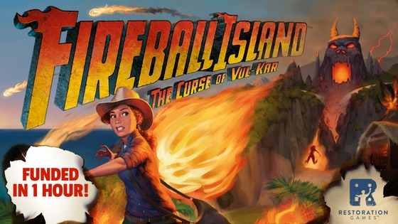 Fireball Island - Fireball Island: The Curse of Vul-Kar is a restoration of the classic 1986 game Fireball Island that features a unique 3D island and a host of marble mayhem. This new version boasts an island that is even bigger than the original (and yet fits in a smaller box) and more marbles. It is a family-weight game for 2-4 players (5 with an expansion) that plays in 30-45 minutes. Simple card play replaces the random roll-and-move of the original, and the set collection for the treasures offers some interesting choices for players.Remember, you don't have to outrun the fireball... just the other players.Campaign Ends: May 3, 2018 [FUNDED!](description from the publisher)