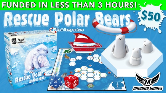 Rescue Polar Bears - Rescue Polar Bears: Data & Temperature is a cooperative game based on Rescue Polar Bears with a new data and temperature system added to the game design to make the strategy more diversified.  The consumption of fossil fuel and releasing of greenhouse gases yield the global warming. Around the north pole, the last icebergs are melting and the polar bears are facing the risk of being extinct. The players form a scientific organization. They try to collect data about climate change to persuade the governments to change their energy policy. At the same time, they also need to prevent polar bears from sinking into the freezing water.  Each player drives a rescue ship of different ability to complete the mission on the Arctic Ocean. As long as the players collectively gather enough data, they win together. However, if too many polar bears sink into the water, everyone loses.Campaign Ends: April 23, 2018 [FUNDED!](description from the publisher)