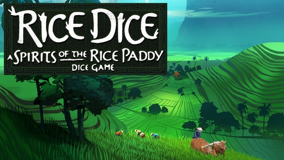 Rice Dice - Rice Dice is a streamlined dice game version of Spirits of the Rice Paddy. Players familiar with that game will feel at home with Rice Dice. New players will find Rice Dice to be a great introduction to its big brother. Rice Dice plays 1-5, ages 10+ in about 30-45 minutes. Roll the custom dice and choose one action based on the results. Add rice paddy cards to your field using the Card action. Run water through your paddies, or assign laborers to plant and harvest. Harvesting gains players rice, which is essential to winning, but paddies with weeds produce less rice so it's essential to assign laborers to keep paddies clean. A harvested paddy can once again be flooded using a water action and the cycle of planting, draining, weeding, and harvesting begins again.  Players can re-roll their dice, but add one weed to your paddy for each weed symbol result! The first player to collect 100 rice (via harvesting, or other special abilities) wins!Like Spirits of the Rice Paddy, Rice Dice rewards a player's ability to optimize the process of flooding, planting, weeding, and harvesting. But it plays in just a fraction of the time!Campaign Ends: April 30, 2018 [FUNDED!](description from the publisher)
