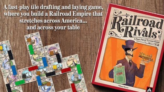 Railroad Rivals - Railroad Rivals is a tile drafting and laying game where you build a Railroad Empire that stretches across America…and across your table. While playing Railroad Rivals, you will connect cities via the twelve great railroads that stretched across America, while simultaneously building your stock portfolio. You'll use those railroads to make deliveries, resulting in driving up the price of stocks. At the end of the game, if you have run the most profitable railroad while also owning the most valuable stocks, you'll become the greatest of all of the Railroad Rivals!Campaign Ends: April 10, 2018 [FUNDED!](description from the publisher)