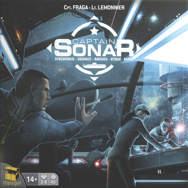 Captain Sonar - PLAYERS: 6-8Captain Sonar is essentially the classic game of Battleship in real-time! This eight player game gives each 4-man crew a different role on the submarine.1. Captain - Navigates the submarine away from the enemy submarine2.Chief Mate - Prepares various weapons to use against the enemy submarine3.Radio Operator - Attempts to locate the enemy submarine4.Engineer - Ensures the submarine is in working order and none of the equipment breaks downAll 4 team members are working together in real-time to elude the other submarine while at the same time locating and destroying the enemy's sub.Captain Sonar is a blast and relies heavily on teamwork and efficiency to survive the battle!