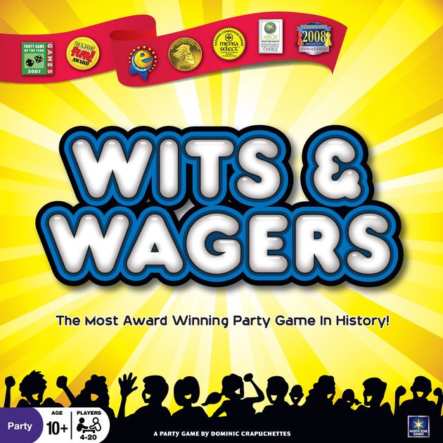 Wits & Wagers - PLAYERS:4 or moreWits & Wagers is a game where you don't need to know the answer to the question, you just need to get close!In this game a question will be posed with a numerical answer. Players will write down guesses to the question. Next, players will be able to place bets with their accumulated chips on which answer they believe is closest to the correct answer. Based on the resulting answer, players collect their winnings.Wits & Wagers is a great game for groups who like analytics, gambling, and trivia.