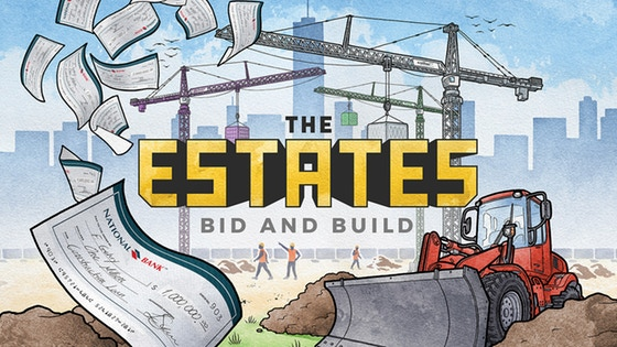 The Estates - Designed by Klaus Zoch, this city-building game of auctions is for 2 to 5 players and plays in about 40 minutes. Players will hold auctions for the various building pieces in an effort to build The Estates – the city's new, upscale development – in a manner that benefits them the most.Campaign Ends: May 4, 2018 [FUNDED!](description from the publisher)