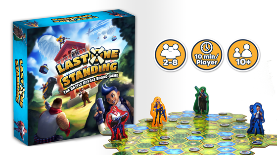 Last One Standing - Up to 8 players find themselves on an ever-shrinking map where they must shot, move, and loot to be the last one standing.Picture it as the Fortnite of tabletop gaming. Last One Standing is a fast-paced and frantic experience that will soon be a staple on board game shelves everywhere.Campaign Ends: May 31, 2018 (description from the publisher)