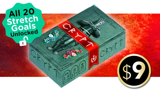 Crypt - Crypt is a light set collection game with a unique dice placement mechanic for 1 to 4 players with easy-to-learn rules and exciting strategic gameplay, all in 20 minutes. Plus, its compact size makes it easy to put in your pocket and take it anywhere! In Crypt, you send your servants into the crypt chambers to pilfer the best treasure. While your servants will unquestioningly do your bidding, grave robbing is exhausting work!Claim Treasure cards by placing Servant dice and choosing any value on each die to designate each Servant's effort. The higher the value, the more likely your Servant will become exhausted when you roll the dice. You can also push out your siblings' Servants by placing dice with values exceeding the occupying Servants' total effort.Campaign Ends: May 2, 2018 [FUNDED!](description from the publisher)