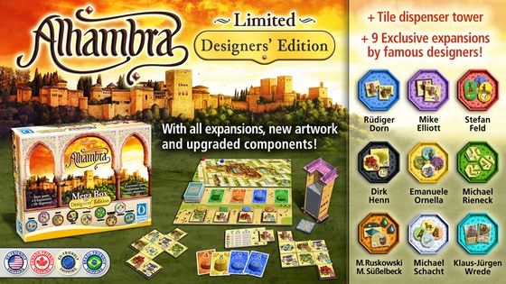 Alhambra: Designer's Edition - The Alhambra family has grown significantly; six expansions, totaling 24 modules, and several of stand alone games have been released. Now it's time to take the next step and introduce to you the Exclusive Alhambra Designers' Edition:- All new artwork for the base game and all expansions, as well as larger tiles in the Mega Box for better visual appeal.- Brand New Designer expansions from famous designers- New Box artwork and tile dispenser tower.- Awesome stretch goals waiting to be unlocked.Campaign Ends: May 25, 2018 [FUNDED!](description from the publisher)