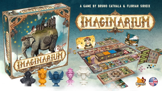 Imaginarium - Through the mist, you can just about see the gigantic form of the factory. This is where the essence of dreams is shaped! We will enter the factory through the grand entrance. Here are the famous machines! You can repair, combine or dismantle them. They will produce the resources needed to repair more powerful machines. I am sure that you will quickly make the best use of your resources and the space available in your workshop to carry out the projects of the design office and gain Victory points!Created by Bruno Cathala and Florian Sirieix, Imaginarium is a strategy, combination and development game with a race to objectives, for 2-5 players. Felideus Bubastis, brings fantastic animal figures together with the factory's steampunk atmosphere in surprising and daring illustrations.Campaign Ends: May 31, 2018 (description from the publisher)