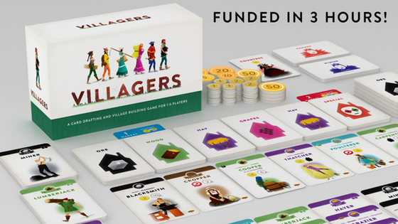 Villagers - Designed and beautifully illustrated by Haakon Gaarder, Villagers is a game of card drafting and village building set somewhere very much like medieval Europe. As a village founder you'll invite people from all walks of life to live and work in your expanding community. If you can recruit the right people to form lucrative production chains while balancing your food production and building capacity, your village will become the most prosperous and you'll win the game!Campaign Ends: June 13, 2018 [FUNDED!](description from the publisher)