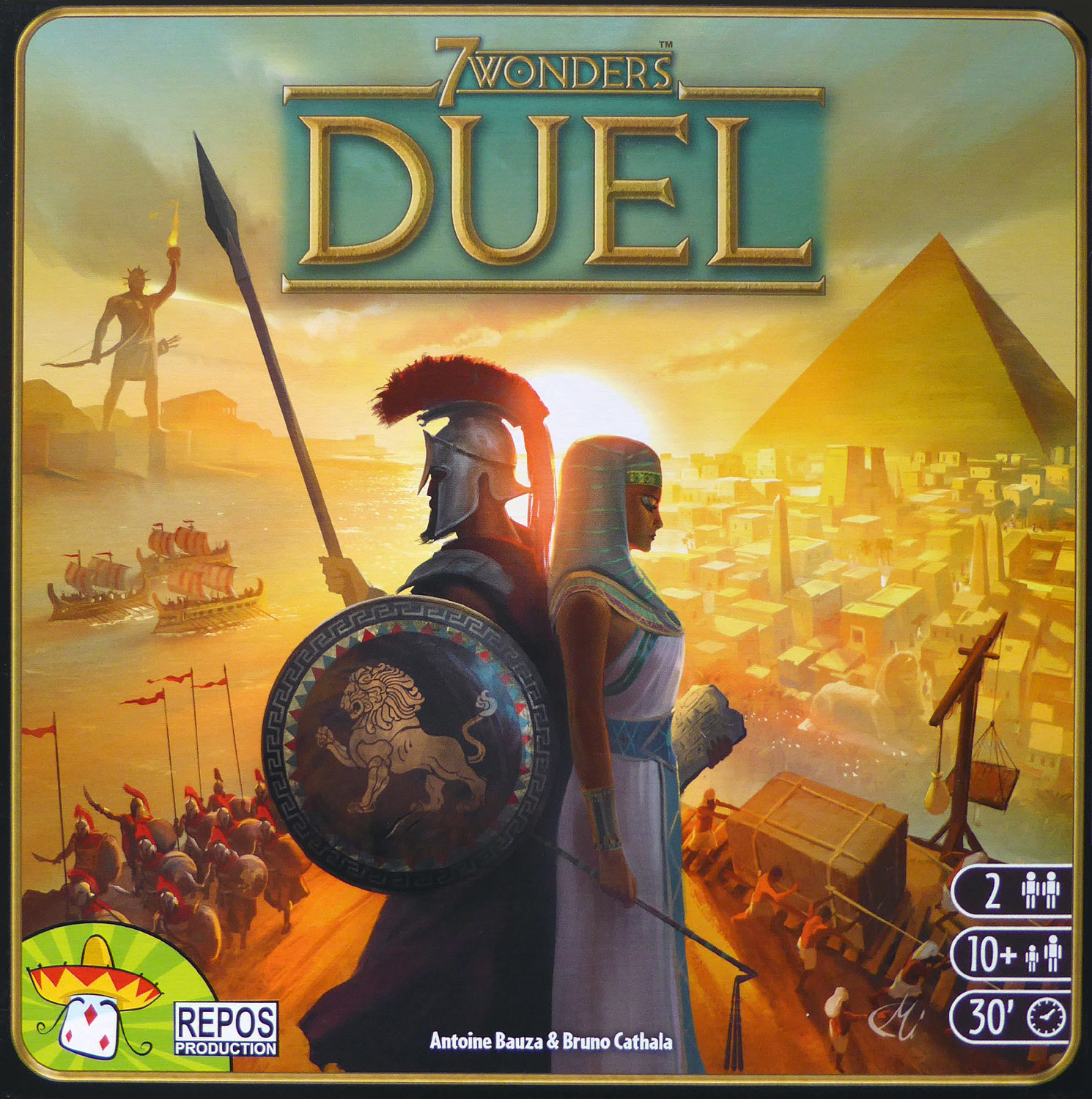 7 Wonders Duel - RELEASED: 2015Essentially a two-player version of the very popular board game 7 Wonders.Each player starts with four wonder cards, and the construction of a wonder provides its owner with a special ability. Only seven wonders can be built, though, so one player will end up short.Players can purchase resources at any time from the bank, or they can gain cards during the game that provide them with resources for future building; as you acquire resources, the cost for those particular resources increases for your opponent, representing your dominance in this area.