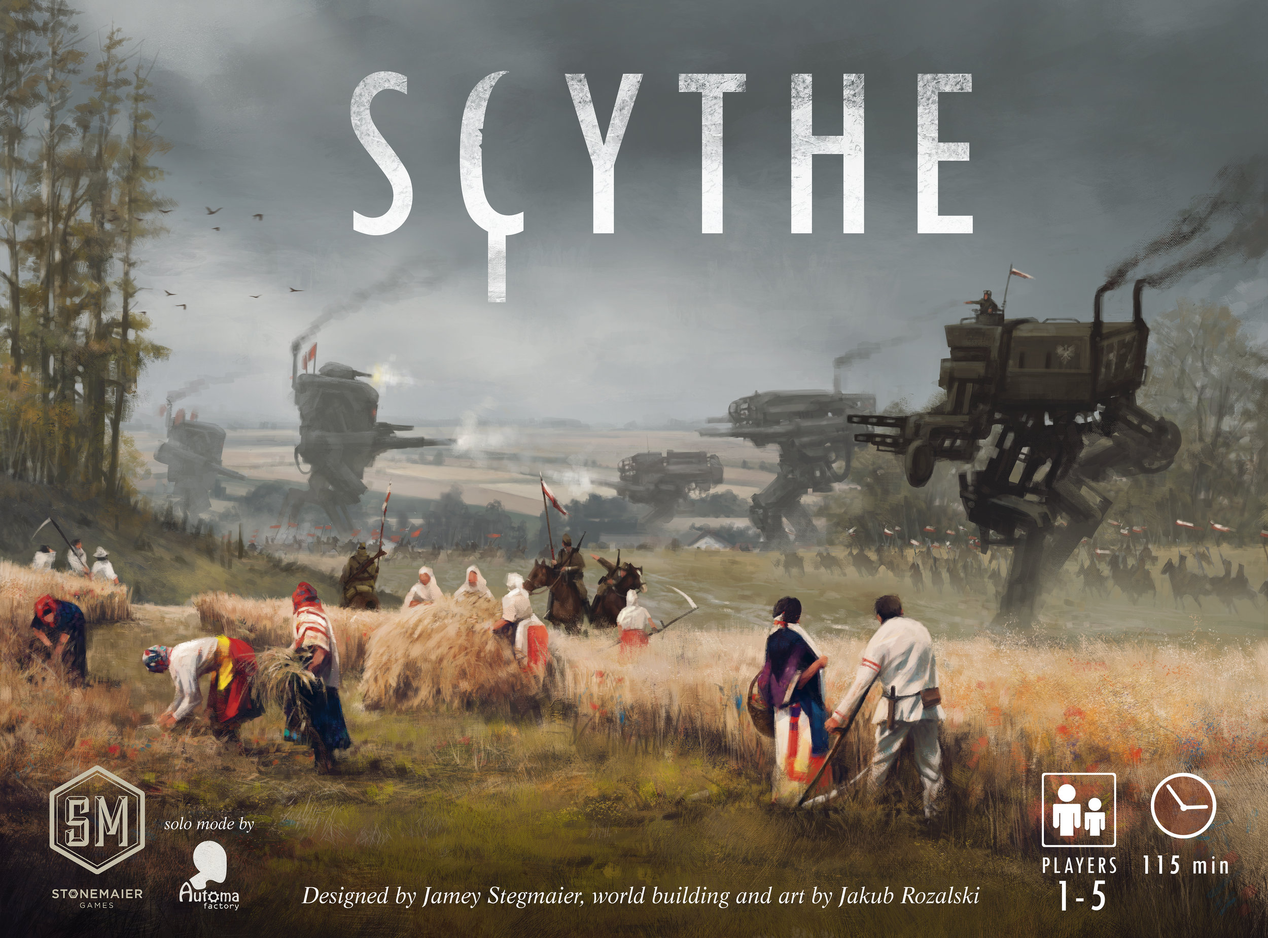 Scythe - RELEASED: 2016Scythe is an engine-building game set in an alternate-history 1920s period. It is a time of farming and war, broken hearts and rusted gears, innovation and valor.In Scythe, each player represents a character from one of five factions of Eastern Europe who are attempting to earn their fortune and claim their faction's stake in the land around the mysterious Factory. Players conquer territory, enlist new recruits, reap resources, gain villagers, build structures, and activate monstrous mechs.