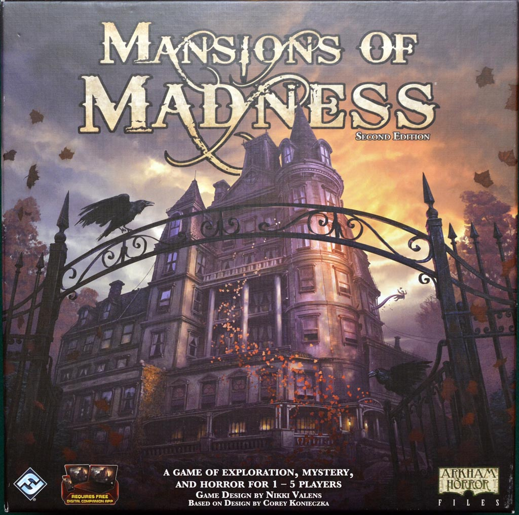 Mansions of Madness - Mansions of madness second edition is a fully cooperative, app-driven board game of horror and mystery for one to five players that takes place in the same universe as eldritch horror and elder sign. Explore the veiled and Misty streets of Innsmouth and stumble through the haunted corridors of Arkham's cursed Mansions as you search of answers and respite. Dive into the required app to confront scenarios of fear and mystery, collecting weapons, tools, and information, solving complex puzzles, and fighting monsters, insanity, and Death. Open the door and step inside these hair-raising Mansions of madness second edition. It will take more than just survival to conquer the evils terrorizing this town.
