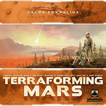 Terraforming Mars - RELEASED: 2016In the 2400s, mankind begins to terraform the planet Mars. Giant corporations, sponsored by the World Government on Earth, initiate huge projects to raise the temperature, the oxygen level and the ocean coverage until the environment is habitable. In Terraforming Mars you play one of those corporations and work together in the terraforming process, but compete in doing the best work, with victory points awarded not only for your contribution to the terraforming, but also for advancing human infrastructure throughout the solar systems and other commendable achievements. The players acquire unique project cards, which represent anything from introducing plant life or animals, hurling asteroids at the surface, building cities, and establishing greenhouse gas industries to heat up the atmosphere. You compete for the best places for your city tiles, ocean tiles and greenery tiles. When the terraforming process is complete, the player corporation with the most victory points wins.