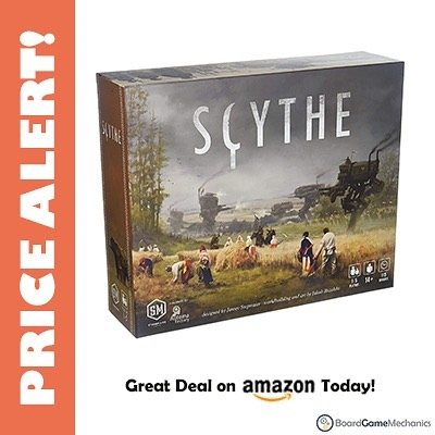 Scythe is currently 55% off right now on Amazon! I've never seen this game that cheap before ($40). Already placed my order!! A direct link is in our bio. #boardgamepricealerts