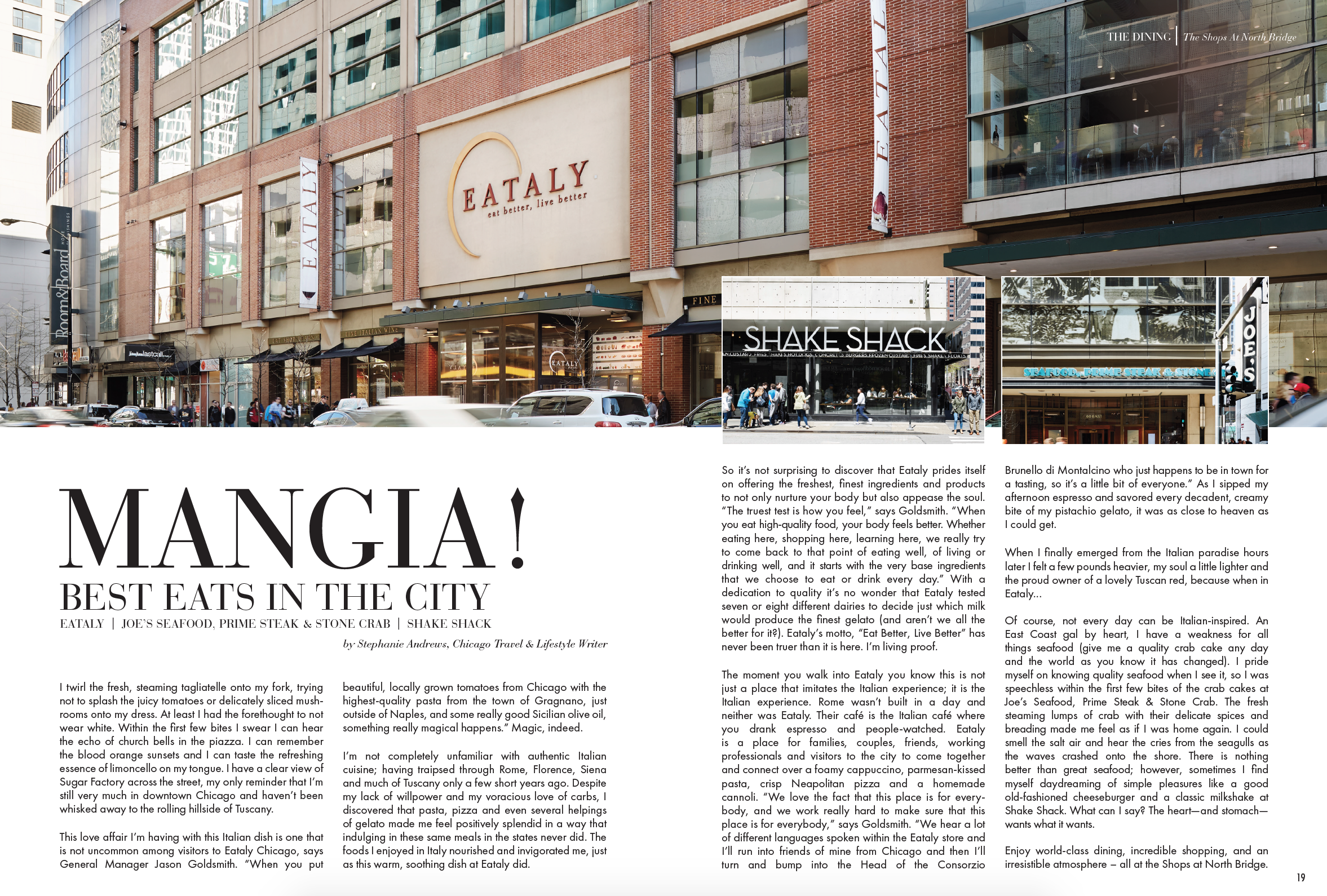 Story written for  The Shops at North Bridge  brochure; May 2017