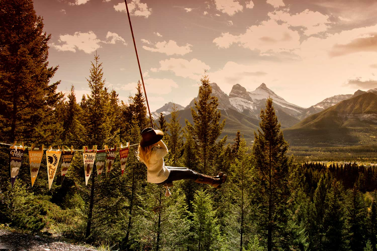 Canmore's rope swing is a memorable photo opp.